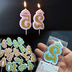 0-9 Number Candle Cake Toppers Glitter Birthday Party Cake B