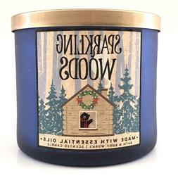 1 BATH & BODY WORKS SPARKLING WOODS SCENTED 3-WICK LARGE FIL