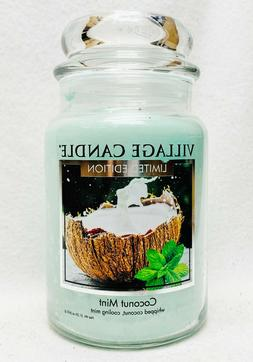 1 Village Candle COCONUT MINT Large 2-Wick Classic Jar Candl