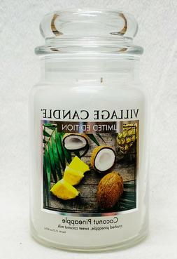 1 Village Candle COCONUT PINEAPPLE Large 2-Wick Classic Jar