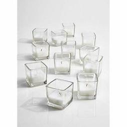 10-Hour White Unscented Cube Votive Candles In Set Of 12 Cla