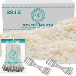 100% Soy Wax Flakes 5LB - All Natural Candle Making Set w/ W