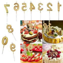 10PCS /Set Gold Number Birthday Numeral Candles Cake Decor f