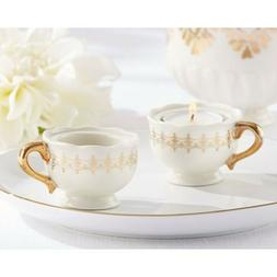 12 Classic Gold Teacup Tealight Holders Wedding Candle Favor