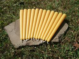 """12 - Hand Poured 8"""" Round 100% Beeswax Taper Candles All-Nat"""