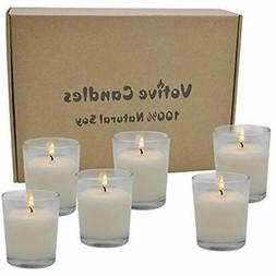 12 Hour Burn Time Votive Candles White Unscented With Holder