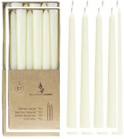 Mega Candles 12 pcs Unscented Ivory Taper Candle | Hand Pour