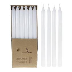 Mega Candles 12 pcs Unscented White Straight Taper Candle |