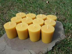 12 - Handmade 100% Beeswax Votive Candles All-Natural, Cotto
