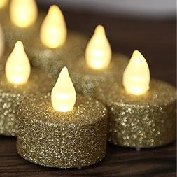 12pcs Led Flameless Gold Glitter Votive Tealight Candles Pow
