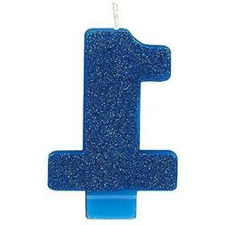 """Amscan 170453 1 Numeral Glitter Candle 3 1/4"""" Blue"""