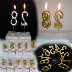1PC Number Happy Birthday Cake Candles Gold Topper Decoratio