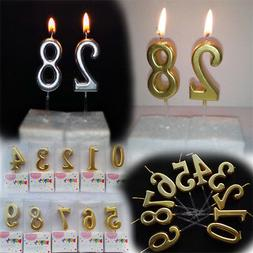 1PC  Number Happy Birthday Cake Candles Gold Topper Decorati