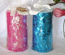 "DW Home HOLIDAY Embellished PILLAR CANDLES 6"" x 3"" PINK & B"