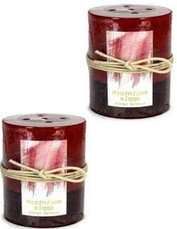 2 MACINTOSH APPLE Scented Pillar Candles 3X4 Red