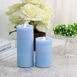 2 Pack Dancing Flame led Pillar Candle sets,Flicker Flameles