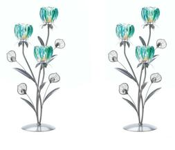 2 Peacock Plumes Candle Holders w 3 Flower Shaped Candle Cup