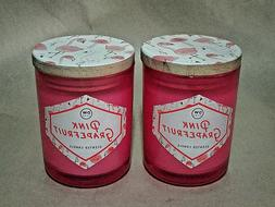 2 DW Home PINK GRAPEFRUIT Richly Scented Candles Small 3.8 o