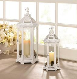 """2 size 18"""" & 24"""" tall large White Moroccan shabby Candle hol"""