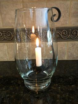 WROUGHT IRON HANGING TAPER CANDLE HOLDER INSERTS w/GLASS HU