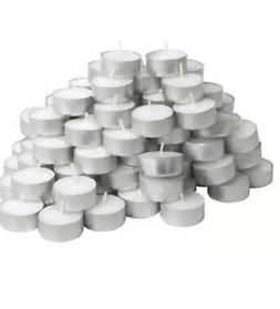 200 Tea Light Candles White Unscented 4 Hours Burn Travel Ca