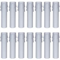 Nexxxi 24 Packs White Plastic Candle Covers Sleeves for Most