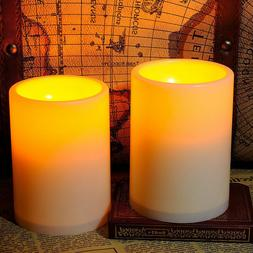 2Pcs 4.5'' Flickering Flameless Resin Pillar LED Candle Ligh