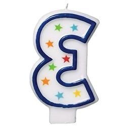 amscan #3 Flat Molded Candle |Birthday |Anniversary 179903