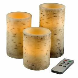 3 Piece Real Wax LED Flameless Candle Set with Remote and Ti