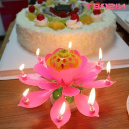 3pcs Candles Rotating Lotus Music Cake Candle for Party birt