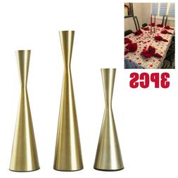 3pcs Gold Metal Taper Candle Holders Candlestick for Wedding