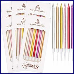 48 PC Cake Candles Long Birthday Glitter In Holders For Part