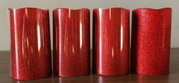 4pcs Red  Glitter Flameless Battery Operated Pillar Candle 5