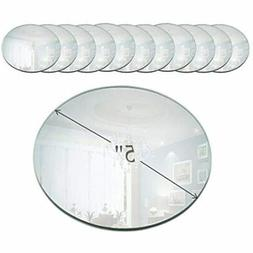 5 Inch Round Mirror Candle Plate With Beveled Edge Set Of 12