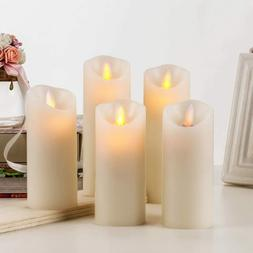 BRAZING CANDLES -5 pc set of LED Flameless Ivory Candles w/