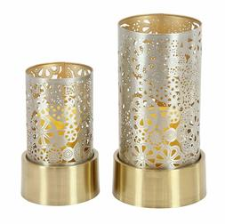 """Deco 79 57364 Iron Cylindrical Gold Candle Holders  8"""" x 10"""""""