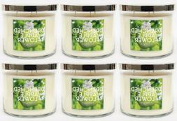 6 Bath & Body Works DRENCHED APPLE FLOWER 3-Wick Scented Lar