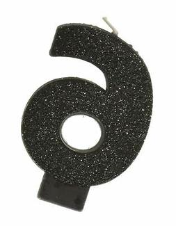 Amscan #6 Glitter Birthday Candle | Black | Party Supply