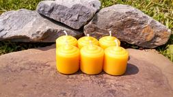 6 Hand Poured 100% Beeswax Mini Votive Candles All-Natural,