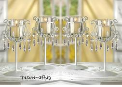 6 white Crystal Chandelier Candle Holder stand wedding table