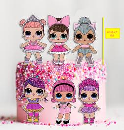 6x EDIBLE large LOL Dolls stand-up Cake Toppers Party Wafer