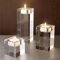 7 SIZES Elegant Crystal Cube Candle Holders Tealight Stand W