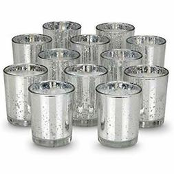 8 Hour Votive Candles With Holders Silver Decorative Glass H