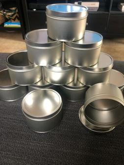 8 Ounce Round Metal Tins 12 Pack For Candles Crafts Storage