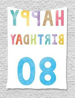 80th Birthday Tapestry Wall Hanging Decoration for Room 2 Si