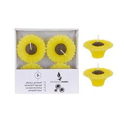 "Mega Candles - Unscented 3"" Floating Sun Flower Candles - Ye"