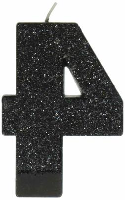 amscan Birthday Celebration, Numeral #4 Glitter Candle, Part