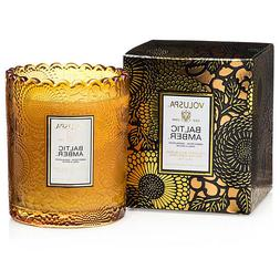 Voluspa Baltic Amber scalloped edge embossed glass candle 6.