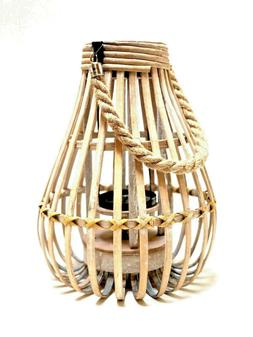 """Bamboo Lantern 12""""  with Metal Candle Holder by Zenda Import"""