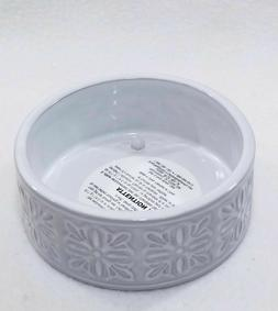 Bath And Body Works White Floral Ceramic 3 Wick Candle Holde